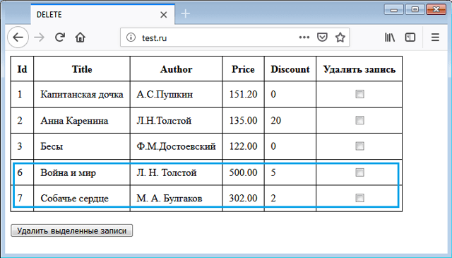Удаление данных в SQL - Для студента